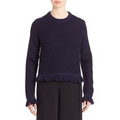 Proenza Schouler Fringe-Hem Wool & Cotton Sweater ($177) ❤ liked on Polyvore featuring tops, sweaters, apparel & accessories, navy black, navy sweater, crew neck pullover, crew-neck sweaters, crewneck sweater and navy blue pullover sweater