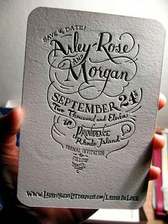 hand lettered. embossed
