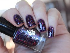 """LE 12"" is a 5 free hand-blended, custom nail polish. (Toluene, Formaldehyde, TSF resin, Camphor and DBP free)BASE - A very dark purple jellyGLITTER - Pink, purple, red and copper glitter. This has a lot of glitter in it and requires careful application.OPAQUE - in 2-3 coats depending on application. PHOTO SHOWS - Two coats of ""LE 12"" with 2 coats of topcoat.  (seche vite)BOTTLE AND INGREDIENTS DETAILS*12ml bottle * Easy to apply brush *..."