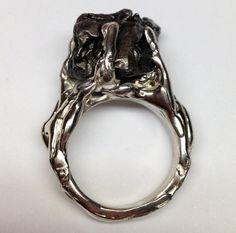 handcrafted meteorite ring