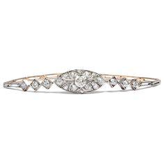 Art Déco Eleganz - Exquisites Armband mit Diamanten in Gold & Silber, Warschau um 1925 von Hofer Antikschmuck aus Berlin // #hoferantikschmuck #antik #schmuck #Armbänder & Armreife #antique #jewellery #jewelry // www.hofer-antikschmuck.de