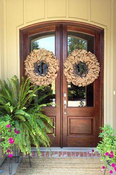 2 Custom Natural Burlap Interlocking Monogram Wreaths  With Burlap Chevron Or Polkadot Bow on Etsy, $155.00