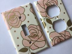 Gold Pink home decor Floral Roses Single Light Switch Plate Cover Outlets / Gold Home Decor / Pink Gold Bedroom  / Gold Nursery Decor / Gold Bathroom #rosegold #goldpinkdecor #gold nursery #pinkgoldnursery by COUTURELIGHTPLATES on Etsy https://www.etsy.com/listing/460357234/gold-pink-floral-roses-single-light