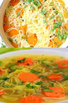 Homemade vegan vegetable noodle soup from scratch featuring classic angel hair style long noodles, carrot, celery and tons of fresh Italian parsley. Best Vegetarian Recipes, Veggie Recipes, Asian Recipes, Soup Recipes, Healthy Recipes, Recipes Dinner, Angel Hair Pasta Recipes, Easy Pasta Recipes, Vegetable Noodle Soup