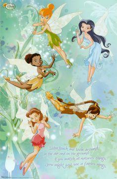 Disney Fairies - Group ~ Wall Poster - Tinkerbell Art Prints and Posters - Disney Pictures Tinkerbell And Friends, Tinkerbell Disney, Tinkerbell Fairies, Tinkerbell Movies, Merida Disney, Tinkerbell Party, Disney Love, Disney Magic, Disney Art