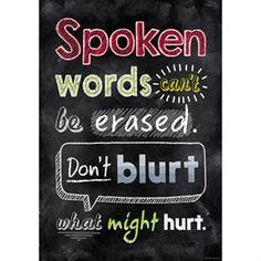 Inspire U Posters - Spoken Words Can't Be Erased...