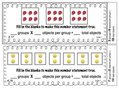 """3rd Grade Common Core Math Task Cards - Help your students understand multiplication with this set of 24 self-checking task cards. They are perfect for centers, small groups, """"Scoot"""" games, or whole class practice! This is a great way to review CCSS 3.OA.1. $"""
