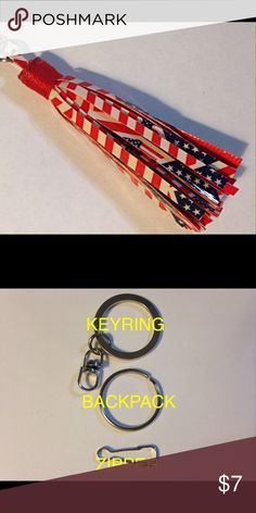 """Novelty Tassel Charm U.S. American Flag Print Key Ring - Backpack Charm - Zipper Pull; you make it your own & I'll add the desired hardware 3-1/2"""" long novelty tassel charm Each tassel is handcrafted from quality duct tape & coated with sealant to prevent it from becoming sticky; loop is internally wired then epoxied & securely tied with deco trim. Comes complete with the hardware of your choice. Over 100 ready-made prints in stock Over 200 prints/solids in stock for custom orders $7 each 2…"""