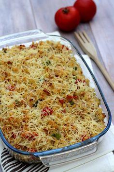 Gratin de pâtes au thon, poivron et tomates - 10SP Weight Watchers