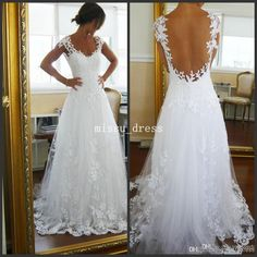 Wholesale Lace Wedding Dress - Buy White Best Selling V-neck Sleeveless Lace Sweep Train A-line Wedding Dresses Fast Selling, $137.07   DHgate.com