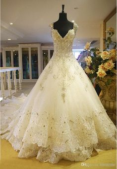 Hot Luxury V Neck Ball Gown Long Train Silk Organza Lace Applique Zuhair Murad 2014 Church Wedding Dresses Crystal Beaded Bling Bridal Gowns Ball Gown Wedding Dresses Camo Wedding Dresses From Blissbridal, $511.71| Dhgate.Com