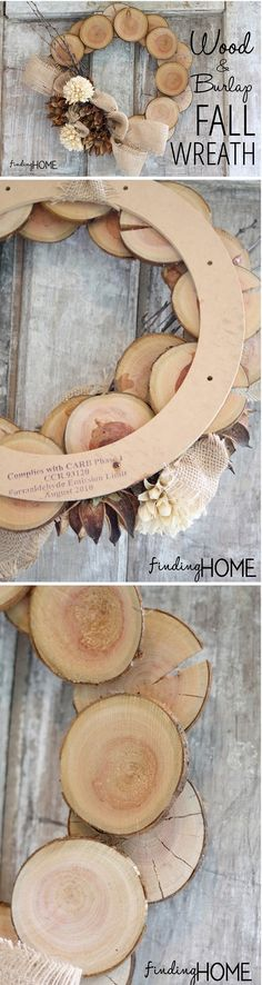 Check out the tutorial on how to make a DIY wood and burlap natural fall wreath @istandarddesign