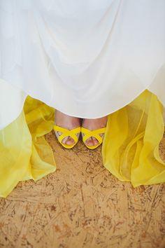 just a peek of color, photo by Dearheart Photos http://ruffledblog.com/old-mac-daddy-wedding #weddingideas #bride #yellow