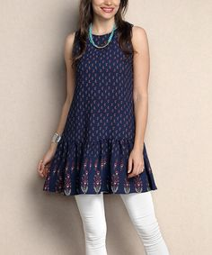 Loving this Navy Abstract Tie-Back Sleeveless Tunic - Plus on #zulily! #zulilyfinds
