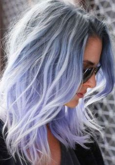 Purple grey hair hair pastel women are dyeing their hair amazing colors for the pastel hair Purple Grey Hair, Ombre Hair Color, Blue Ombre, Periwinkle Hair, Gray Hair, Pastel Purple, Blue Grey, Pastel Hair Colors, Violet Hair