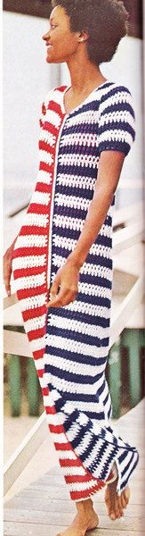 Vintage Crochet RedWhite and Blue Beach Dress by LittleGalsStudio, $2.50
