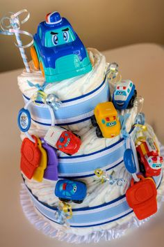 Car-themed baby shower diaper cake