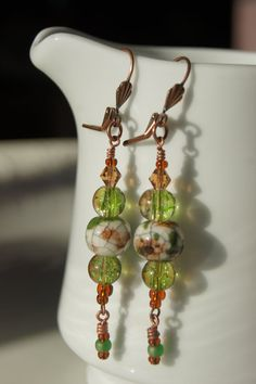 Messy Crow Green and Brown earrings by MessyCrow on Etsy, $10.00