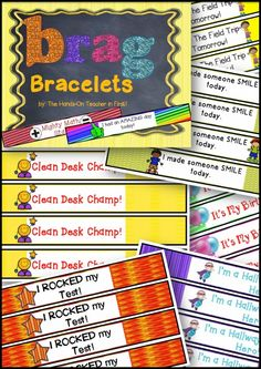 Brag bracelets for students to wear as you catch them being awesome! I LOVE this idea! {Via The Hands-On Teacher in First} and they can wear home to parents, showing then how awesome they were at school! Classroom Rewards, Classroom Behavior Management, Classroom Organisation, Kindergarten Classroom, School Classroom, Behaviour Management, Classroom Ideas, Future Classroom, Classroom Labels