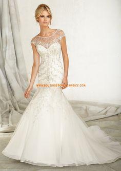Robe de mariée de luxe cristal perles col bateaux sirène