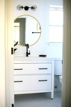 How to make a dramatic modern bathroom vanity from a standard IKEA sink cabinet