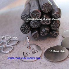 21 piece jEWELRY tAG kIT and dESIGN sTAMP  NICKEL by Stampadoodle, $19.25