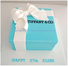 Tiffany & Co Gift Box Birthday Cake, Birthday Cakes Sydney, Cakes for Birthday, Designer Cakes by EliteCakeDesigns Birthday Cakes Sydney, Blue Birthday Cakes, Birthday Cakes For Teens, Gift Box Birthday, Sweet 16 Birthday, Birthday Crafts, Tiffany Blue Cakes, Tiffany Party, Tiffany Theme