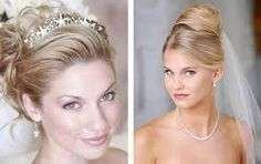 Image result for wedding updo with beehive and crystal headband