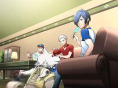 Persona 3 - Junpei Iori, Akihiko Sanada, Koromaru, and Makoto Yuuki by Minato