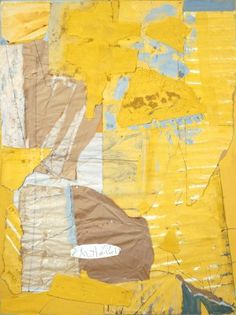 Robert Motherwell  Collage in Yellow and White, with Torn Elements, 1949, Casein, watercolor, graphite, pasted Kraft papers, Japanese paper, glassine tissue, drawing papers, and wood veneer on board. Collection Mr. and Mrs. Eugene F. Williams III, © Dedalus Foundation, Inc/Licensed by VAGA, New York, NY