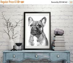 CYBER MONDAY SALE French Bulldog Painting art Print from Original Artist Signed Frenchie Dog Art french bulldog black and… #dogs #etsy #art