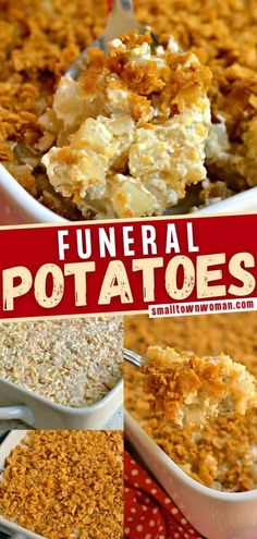 Budget friendly, easy, and delicious Funeral Potatoes are the perfect side dish for potluck, family reunions, and parties! This recipe is made of frozen hash brown with onion, sour cream, cream of chicken soup, cheddar cheese, and Monterey Jack Cheese topped with crushed cornflakes! Save this pin! Potluck Side Dishes, Side Dishes Easy, Vegetable Side Dishes, Side Dish Recipes, Easy Recipes, Main Dishes, Twice Baked Potatoes, Cheesy Potatoes, Potato Dishes