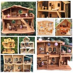 Dollhouse Toys, Wooden Dollhouse, Dollhouse Furniture, Dollhouse Miniatures, 5 Year Anniversary Gift, Eco Friendly Toys, Popular Toys, Little Houses, Handmade Toys