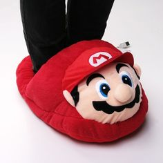 Super Mario Red Plush One-piece Slippers Foot Warmer USB Heated Shoes at PandaWill