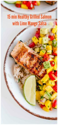A delicious gluten free meal with grilled fresh salmon topped with a lime mango salsa. #glutenfree #glutenfreedinner #seafood #salmonrecipes