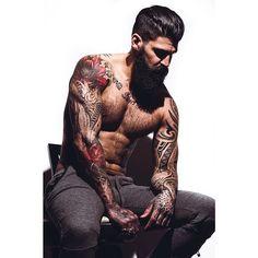 Jerry Melo - full thick black bushy beard beards bearded man men mens' style bearding tattoos tattooed #beardsforever