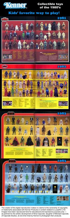 Star Wars action figures from 1981 to 1983, from the Kenner Products toy catalog. Kenner Products is a division of CPG Products Corp, located in Cincinnati Ohio at the time these catalogs were printed.