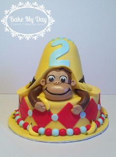 Curious George and big yellow hat cake Hat Cake, Big Yellow, Curious George, Custom Cakes, Baking, Desserts, How To Make, Food, Personalized Cakes