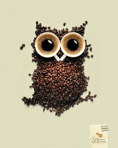 Creative advertising, owl made from coffee cups and coffee beans Creative Advertising, Coffee Advertising, Food Advertising, Print Advertising, Print Ads, Art Print, Advertising Campaign, Owl Coffee, I Love Coffee