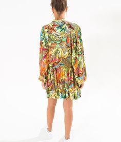 vestido bata folhagem notuna fluo