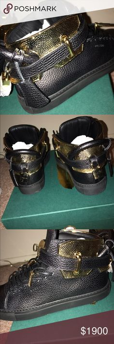 Size 9-42 men's Buscemi hammer cage Rare shoe sold out in size 9 Buscemi hammer cage hand made hardware from blacksmith that has done work for the Queen of England dipped in 24k Gold!!! Top of the line shoe you won't find these anywhere in this size!! You may see other Buscemi but not these anywhere or in any store get a shoe that you won't see on anyone else feet!! Buscemi Shoes Sneakers