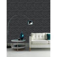 Arthouse VIP Black Brick Wall Pattern Faux Stone Effect Motif Mural Wallpaper 623007 Brick Design Wallpaper, Black Brick Wallpaper, Wall Wallpaper, Stone Wallpaper, Textured Wallpaper, Wallpaper Ideas, Art House, Tile Bedroom, White Wash Brick