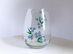 Forget Me Not Hand Painted Wine Glass Lighted Wine Bottles, Glass Bottles, Glass Vase, Painting Glass Jars, Wine Painting, Bottle Painting, Fabric Painting, Painted Vases, Painted Mugs