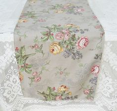 Taupe and Roses Cotton Tablerunner  14 x 54  by RosebudsOriginals, $35.00