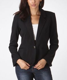 Black One-Button Blazer #zulily #zulilyfinds