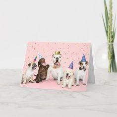 Happy Birthday Party Animals Card Happy Birthday Pug, Happy Birthday Parties, Happy Birthday Greeting Card, Funny Birthday Cards, Dog Cards, Animal Cards, Animal Birthday, Art Design, Custom Greeting Cards