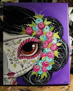 Meagan Suarez Fine Art - Make Art & Live Happy Illustrations, Illustration Art, Sugar Skull Art, Sugar Skulls, Posca Art, Halloween Painting, Arte Popular, Mexican Art, Face Art