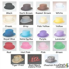 "These mini top hats are not the standard round top, flat brimmed mini top hats. They are a jaunty oval shaped top with a curved brim just waiting for you to embellish and sell.   Hat Measurements: Brim- Front to Back 5.5"" Side to Side 4.75"" Hat Height- 2.25"" Crown- Front to Back 3.125"" Side to Side 2.75""  These hats are sold in packs of 5. An Order of 1 unit=5 mini top hats for $8.90"