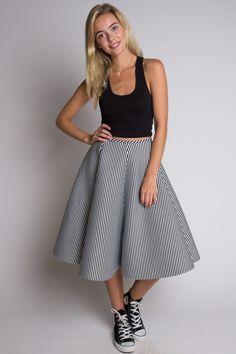Black & White Knee Length Skirt - Ragstock