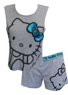 Hello Kitty Muscle Tee and Boxer Pajama Set, $24 Check out this updated style! These short pajama sets for women feature Hello Kitty with her sequined bow on a grey sleeveless muscle tee. Armhole has a raw edge and the athletic style tank is a cropped style. Paired with matching boxer style short, this set is super fun. Machine wash, junior cut.